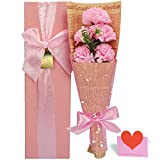 Yobansa 枯れない花ソープフラワー ギフトボックス 誕生日 母の日 記念日 先生の日 バレンタインデー 昇進 転居など最適としてのプレゼント (ピンクのカーネーション)