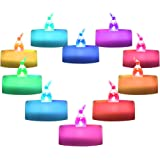 Homemory Flameless Colorful LED Tea Light Candles Battery Color Changing Pack of 12, 7 Colors Flashing Cycle Candles Light fo