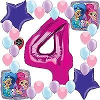 Shimmer Shineガールズ誕生日パーティーSupplies番号バルーン装飾バンドルfor マルチカラー ss