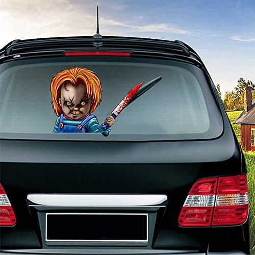 ハロウィンリアウィンドウステッカー、血まみれの手を振るワイパーステッカーリアウィンドウ3D漫画の休日の車のステッカーは再利用できます