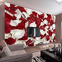 Mingld カスタム3D壁画壁紙ロマンチックな赤いバラの花びら壁紙用ウェディングハウスリビングルーム家の装飾不織布-150X120Cm