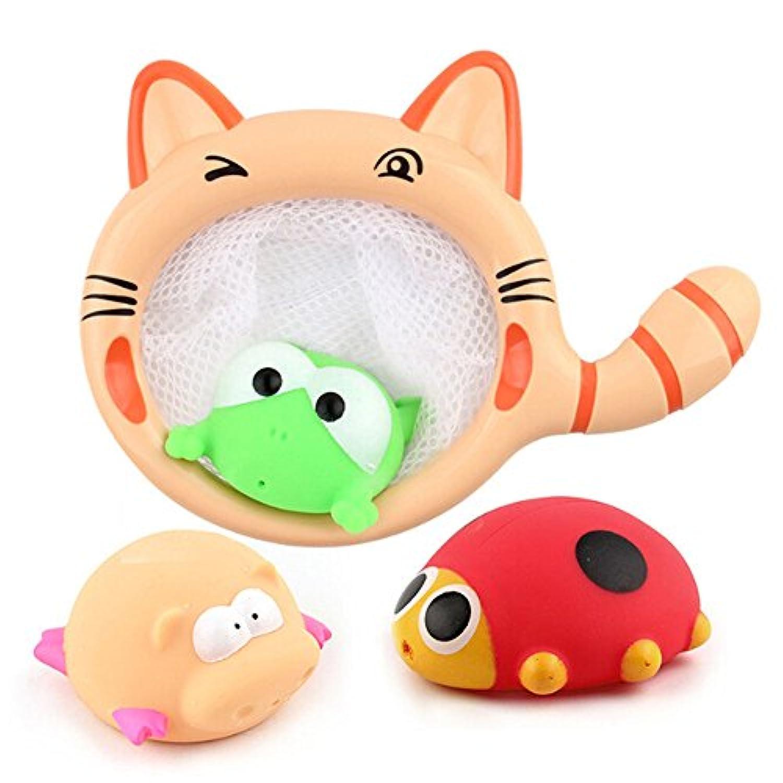 DBMART 4点セット お風呂おもちゃ 噴水おもちゃ ネット 可愛い猫柄のジョウロ 魚すくい 萌え萌え シャワーおもちゃ 水遊び お風呂 シャワー 知育玩具 子供 赤ちゃん おもちゃキッズ プレゼント