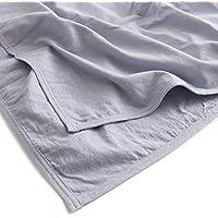 mofua natural ケット 水洗い加工で仕上げた 麻×綿 シングル ブルー 55520102