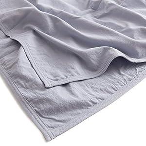 mofua natural ケット 水洗い加工で仕上げた 麻×綿 ダブル ブルー 55520302