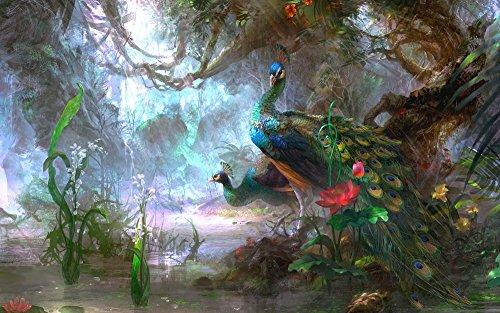 絵画風 壁紙ポスター (はがせるシール式) クジャク 孔雀の飾り羽 インドクジャク マクジャク 鳥 キャラクロ BKJK-001W1 (ワイド版 921mm×576mm) 建築用壁紙+耐候性塗料