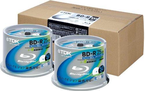 TDK 録画用ブルーレイディスク  BD-R 25GB 1-4倍速 ホワイトワイドプリンタブル 【フラストレーションフリーパッケージ(FFP)】 100枚入り(50枚スピンドルX2) BRV25PWB100PK-AM