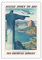 リオブラジルにダウン飛びます - 救い主像をキリスト - パン・アメリカン航空(PAA) - ビンテージな航空会社のポスター によって作成された ポール・ジョージ・ローラー c.1930s - 美しいポスターアート