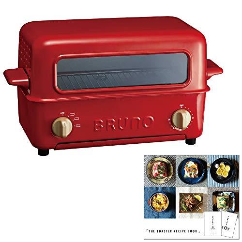 BRUNO トースターグリル + THE TOASTER RECIPE BOOK トースターレシピブック セット (レッド)