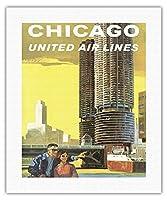 アメリカ、シカゴ - マリーナシティ、シカゴ川 - ユナイテッドエアラインズ - ビンテージな航空会社のポスター によって作成された トム・ホイン c.1965 - キャンバスアート - 41cm x 51cm キャンバスアート(ロール)