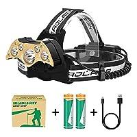 QP USB充電式LEDヘッドトーチ、赤の警告灯付き防水軽量ヘッドランプ、サイクリングランニング用の5つのモードヘッドライト、ハイキング釣りなど[Energy Class A +]