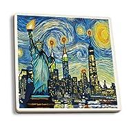 ニューヨーク市、ニューヨーク–スカイライン–Van Gogh Starry Night 4 Coaster Set LANT-76416-CT