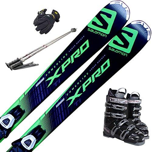[해외] 스키5점 세트 SALOMON 15-16 X-PRO TI LITHIUM 10 162CM 부츠26CM 스톡120CM 맨즈 글러브-