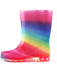 7dd883a7558eb  KushyShoo  長靴 キッズ 歩くたびに光る 収納袋付き 軽量 レインブーツ 女の子 男の子 雨靴 ジュニア 子ども用 滑り止め 防水防寒  梅雨対策 通園・通学用…
