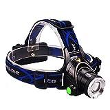 ヘッドライト 多様の点灯モード 角度90°調整可能 ズーム機能付き 充電式ledヘッドライト 高照度型T6チップ搭載 夜間作業/防災/夜釣り/キャンプ用にオススメ (黒2181)