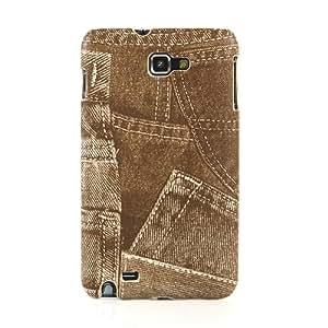 【全5色】Samsung Galaxy Note ケース GT-N7000 カバー SC-05D ハードケース PUレザー+プラスチックケース デニム柄 ジーンズケース ブラウン ギャラクシー ノート対応ケースカバー Hard Case for Galaxy Note / GT-i9220 液晶保護フィルム付(7298-3)