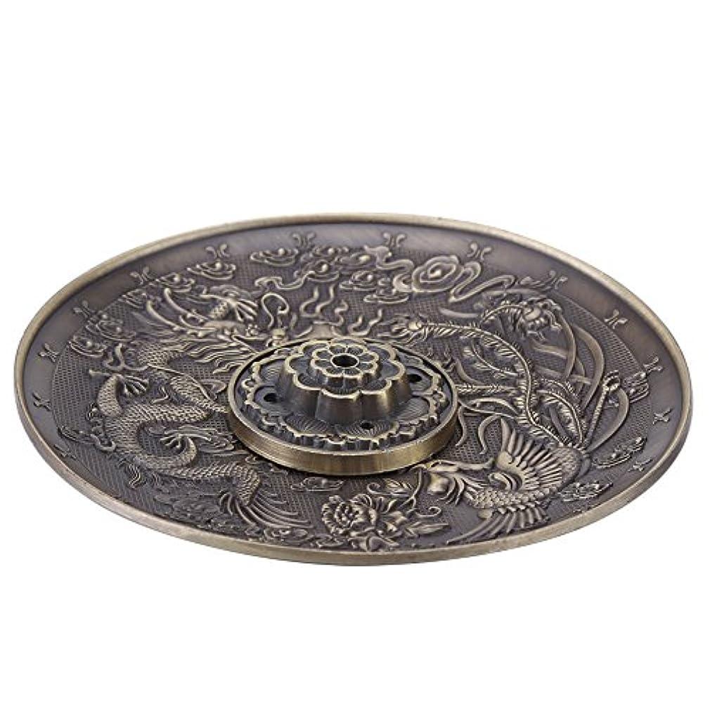 連結するあご牛香皿 亜鉛の香り バーナーホルダー寝室の神殿のオフィスのためのドラゴンパターンの香炉プレート(ブロンズ)