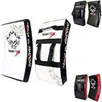 TurnerMAX BOXING KICK PAD, CURVED STRIKE SHIELD, Training for MMA Kick Boxing Karate Training - Wht/Blk
