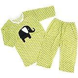 "ollchaengi乳児幼児キッズボーイズガールズ3/ 4スリーブコットンパジャマセット18m-12y "" Elephantグリーン"""