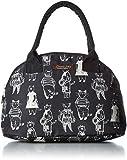 [ノアファミリー] プリントボストンバッグ クラシックなスケッチ猫のバッグ&ポーチ。懐中時計のチャームが可愛いアクセント! A709 BK ブラック