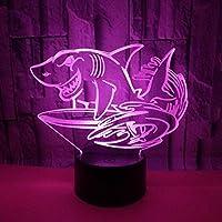 Dtcrzj サメ3Dライトカラフルなタッチリモコン3D Ledビジョンライトギフトデコレーション3Dナイトライト