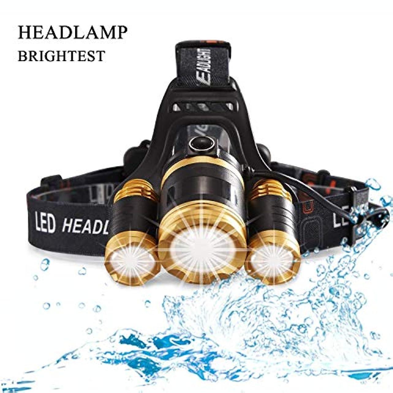 自分自身貫通アクロバットMUTANG 軽量超明るいLEDヘッドトーチライトヘッドライト充電式防水LEDヘッドランプ懐中電灯Zoomableハードハットキャンプランニングフィッシング