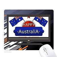 オーストラリアの味の幸せなフラグと星 ノンスリップラバーマウスパッドはコンピュータゲームのオフィス