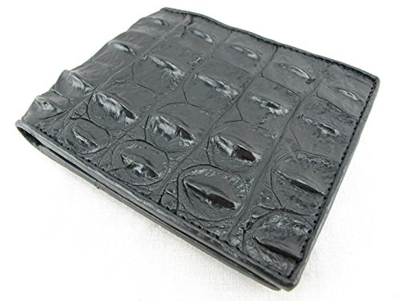 ラダ視聴者生きるpelgio Genuine Crocodile Alligatorバックボーンスキン二つ折り財布