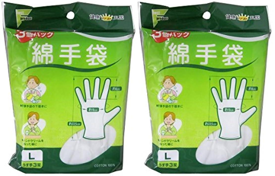 効能カーテン聴覚ファスト綿手袋 Lサイズ 3双 L3双【2個セット】