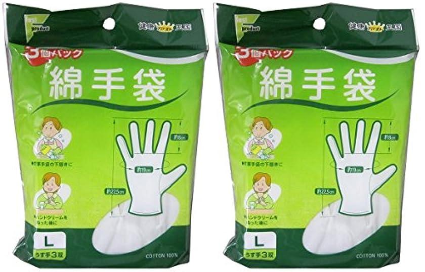 ダニ受け継ぐ徴収ファスト綿手袋 Lサイズ 3双 L3双【2個セット】