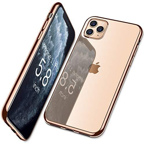DTTO iPhone 11 Pro ケース 5.8インチ TPU ソフト 米軍MIL規格 超薄型 超軽量 背面クリア 周りメッキ加工 ワイヤレス充電対応 水洗い可 傷つき防止 黄変防止 ピンクゴールド