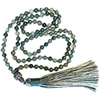 Tibetan Mala Necklace ? Gemstone Jewelry for Meditation and Mantra ? 108 Knotted Buddhist Prayer Beads (Green)