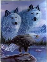 3d Lenticular Stereoscopic印刷ペイント画像–Wolves & Bald Eagle