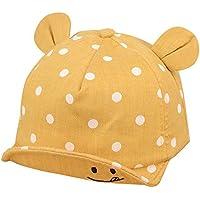 Tovadoo 子供帽子 超可愛い ベビー用帽子 野球帽 おっきな お耳付き 笑顔柄 水玉 日差し キャップ 男女兼用 日焼け止め ユニセックス (イエロー)