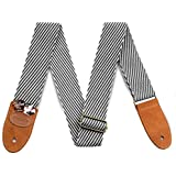 Guitar Strap Vintage Tweed 100% Cotton & Genuine Leather Strap with Pick Pocket For Bass, Electric & Acoustic Guitars (Black/