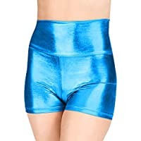Mocure Women's Elastic High Waist Metallic Booty Shorts Casual Shorts Hot Pants Shiny Bottoms for Yoga Dancing Raves