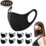 12 Pack Face Masks, ACMETOP Anti Dust Mask, Unisex Carbon Fiber, Mouth Mask, Reusable & Washable Masks for Running, Cycling, Skiing Motorbikes, Outdoor Activities(Black)