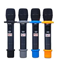 AUCH 4 Sets Shakeproof Wireless Handheld Microphone Anti-rolling Mic Protection Silicone Ring & Bottom Rod Sleeve Holder Set for KTV Device, Multi-Colored by AUCH
