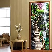 Xbwy 3D壁紙中国風の滝自然風景ドアステッカー写真壁壁画Pvc自己接着防水3D家の装飾-150X120Cm