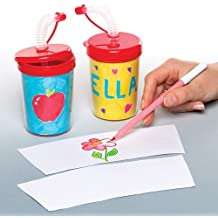 Baker Ross Colour - in Bendy Straw Cups (Pack of 3) for Kids to Decorate