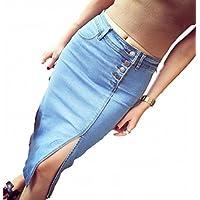 [ディアアンナ] デニム ペンシルスカート 通年用 スリット ロング ストレッチ スカート ミディアム丈 青 濃紺