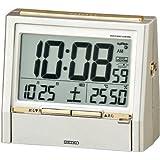 SEIKO CLOCK (セイコークロック) 目覚し時計 デジタル TALK LINER トークライナー 電波時計 温度計 湿度計 音声報時機能付き DA206G 薄金色パール塗装