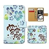 Xperia XZ2 SOV37 スマホケース 手帳型 HAWAII ホヌ 亀 ハワイ 海 守り神 手帳ケース カバー [E018303_02]