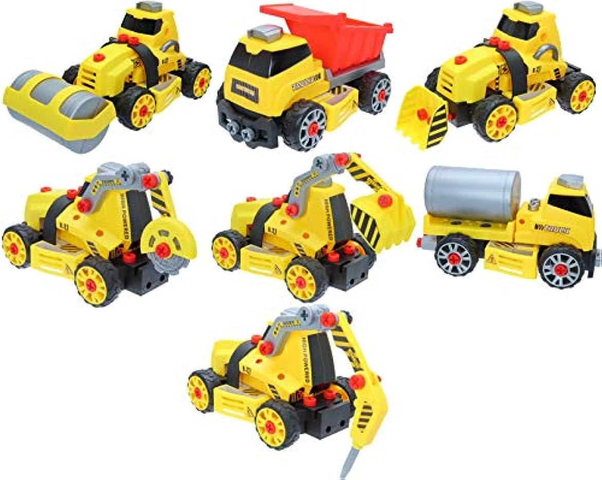 アルカトラズ島やがて抜け目がないParaizo 車おもちゃ 組み立て ネジ止め 7in1 7台に変化!? 建設車両 働く車 作業車 DIYカー セット工事 現場シリーズ 子供向け 立体パズル イエロー
