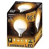 ルミナス LED電球 E26口金 60W相当 電球色 広配光タイプ 密閉器具対応 ボール球 CM-G60GL