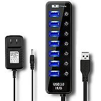 USB3.0ハブ ELEGIANT セルフパワー 7ポート 電源付き 個別 スイッチ LEDライト usbコンセント 急速 バスパワー acアダプター 【5Gbps高速・軽量・コンパクト・持ち運び便利】