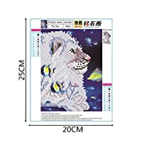 Tichan カラフルライオン ラブウルフ 5D刺繍絵画 ラインストーン 貼り付けDIY ダイヤモンド刺繍 30X40cm クロスステッチアクセサリーツール 大人キット