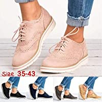 Women's Platform Lace Up Wingtips Oxfords Shoe Casual Brogue Shoes(Pink,38)