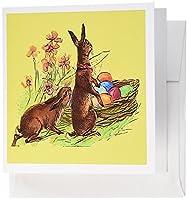 Sandy Mertensイースターヴィンテージ–Rabbits withイースターエッグバスケットグリーティングカード Set of 6 Greeting Cards