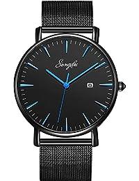SONGDU ファッション ブラック メンズ クォーツ日付表示 ウォッチ 超薄型 ビジネス カジュアル アナログ 腕時計 (ブルー)