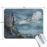 qqmarket Flying Owl Bird At Night発泡ゴムマウスパッドサイズ9.8X 7.5X 0.2インチ